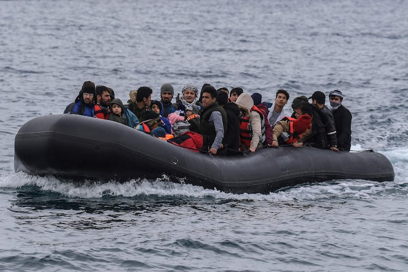 A dingy filled will 54 Afghan refugees heading to the Greek Island of Lesbos earlier today (Image: Lehtikuva)
