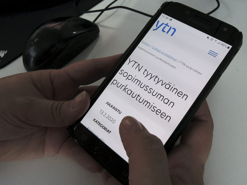 The Federation of Professional and Managerial Staff (YTN) voiced its satisfaction with the new collective bargaining agreements for its members in a press release published on its website on Thursday, 13 February 2020. (Teemu Salonen – Lehtikuva)