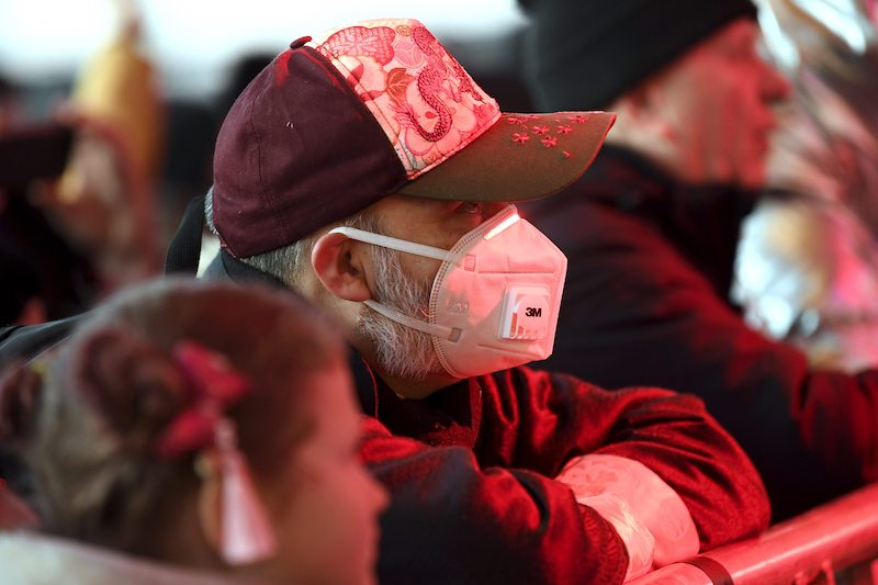 An attendee wears a face mask amid rising concerns of the Wuhan Coronavirus having made its way to Finland.