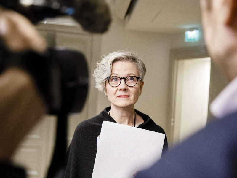 National Conciliator Vuokko Piekkala spoke to the media about the collective bargaining talks between the Industrial Union and Technology Industries of Finland in Helsinki on 29 November 2019. (Seppo Samuli – Lehtikuva)