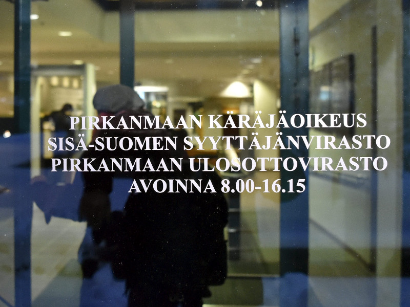 The opening hearing in a case against a teacher at the Police University College was held at the district Court of Pirkanmaa in Tampere, Finland, on 14 January 2020. (Jussi Nukari – Lehtikuva)