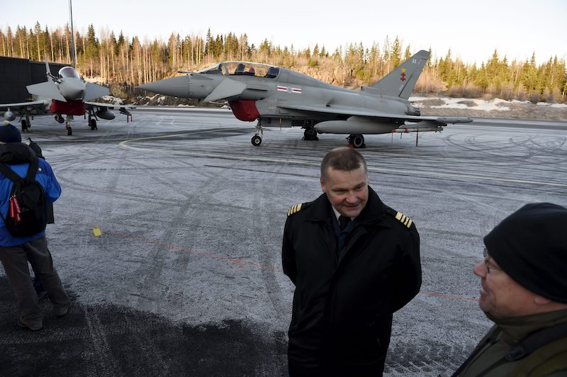 Colonel Juha-Pekka Keränen, Chief of Operations of the Finnish Air Force, during a media presentation of the pan-European Eurofighter Typhoon fighter.
