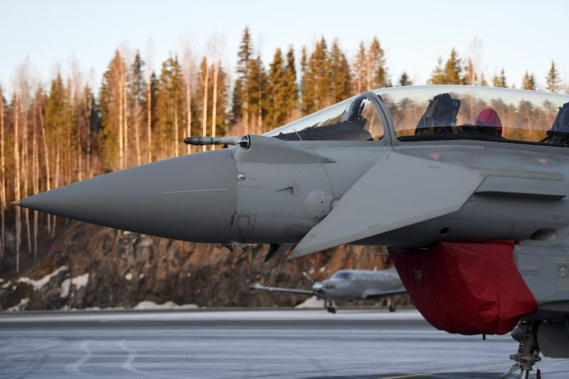 A Eurofighter Typhoon Jet prepares to take off from Pirkkala Airforce Base in Pirkanmaa, Finland last night (Image: Lehtikuva)