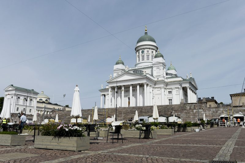 A shot of the terrace with Helsinki Cathedral in the background (Image: Lehtikuva)