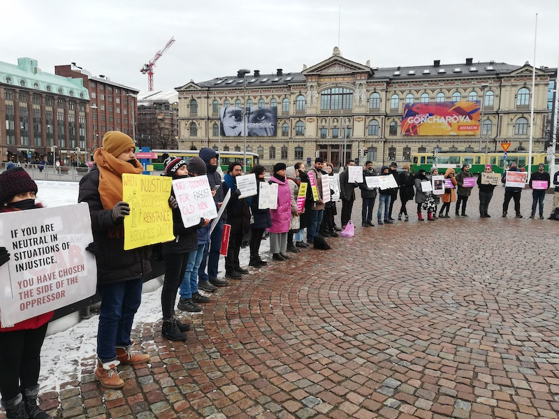 Protestors gather outside Helsinki's Central Railway Station on Saturday (Image: Indians Against CAA Finland)