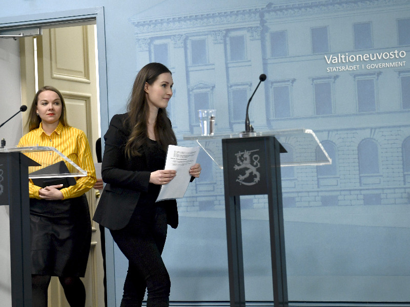 Prime Minister Sanna Marin (SDP) led her fellow cabinet members to a press conference about the coronavirus outbreak in Finland in Helsinki on Monday, 30 March 2020. (Emmi Korhonen – Lehtikuva)
