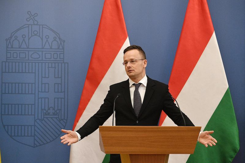 Hungarian Foreign Minister Peter Szijjarto at a press conference in Budapest in February (Image: Lehtikuva)