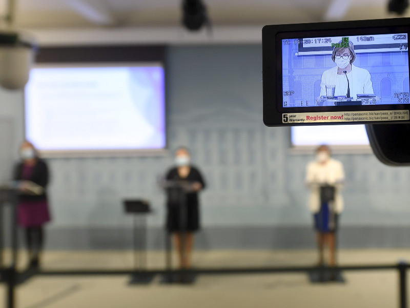 Minister of Justice Anna-Maja Henriksson (SFP) was seen on a television camera monitor as she and two of her fellow ministers, Sirpa Paatero (left) and Krista Kiuru (centre), presented measures to help the victims of hackings in Helsinki on Thursday, 12 November 2020. (Vesa Moilanen – Lehtikuva)