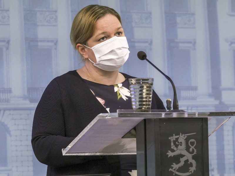 Minister of Family Affairs and Social Services Krista Kiuru (SDP) spoke at a press conference in Helsinki on 29 October 2020. (Markku Ulander – Lehtikuva)