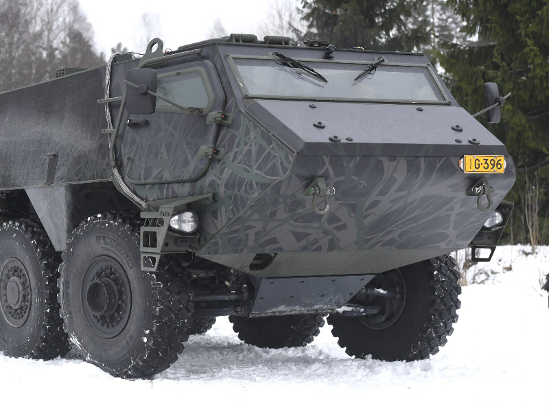 Patria, a Finnish state-owned military equipment maker, test drove its armoured modular vehicle in Hämeenlinna, Finland, on 14 March 2019. (Heikki Saukkomaa – Lehtikuva)