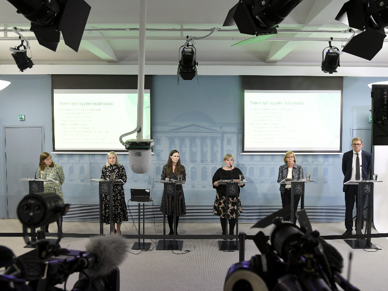 The Finnish government announced the conclusions of its budget session in a news conference in Helsinki on Wednesday, 16 September 2020. (Markku Ulander – Lehtikuva)