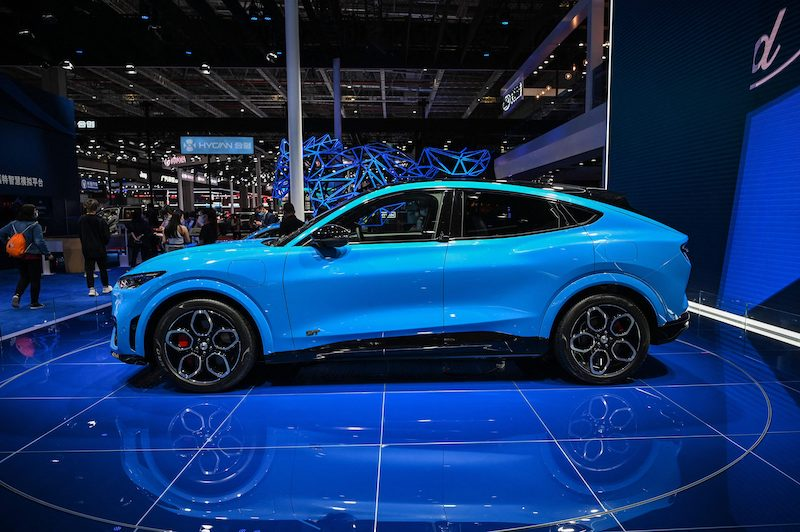 This picture shows a Ford Mustag GT on display during the 19th Shanghai International Automobile Industry Exhibition in Shanghai on April 20, 2021. LEHTIKUVA / AFP