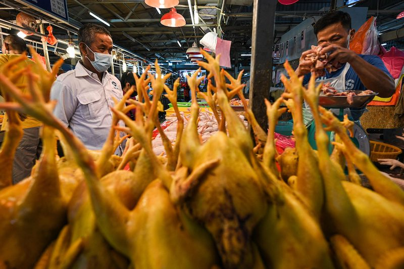 Slaughtered chickens are displayed for sale at the Chow Kit wet market in Kuala Lumpur on April 21, 2021. LEHTIKUVA / AFP