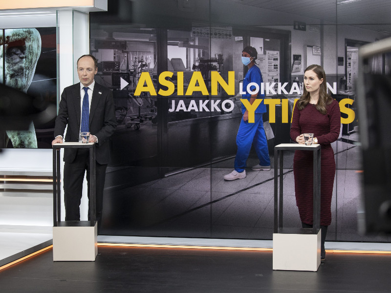 Jussi Halla-aho of the Finns Party and Sanna Marin of the Social Democrats faced off in an election debate hosted by MTV on 8 December 2020. (Handout / Onni Ojala – MTV Oy)