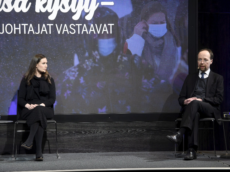 Sanna Marin, the chairperson of the Social Democrats, and Jussi Halla-aho, the chairperson of the Finns Party, took part in a municipal election debate held by Ilta-Sanomat on Tuesday, 12 January 2020. (Vesa Moilanen – Lehtikuva)