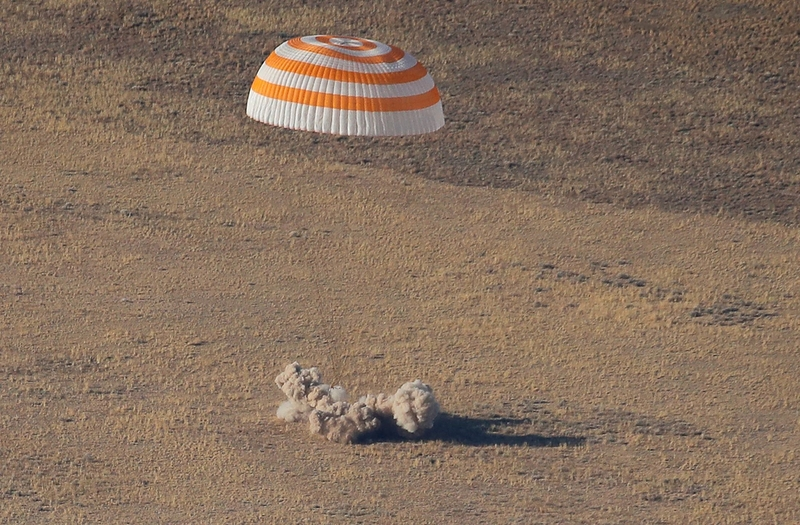 The Russian Soyuz MS-12 Space capsule carrying three astronauts lands in Kazakhstan (Image: Lehtikuva)